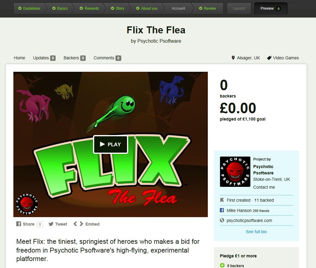 Work In Progress: A sneak-peek at the upcoming Kickstarter page for Flix The Flea.