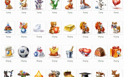 Colección de iconos png super lindos de 96x96