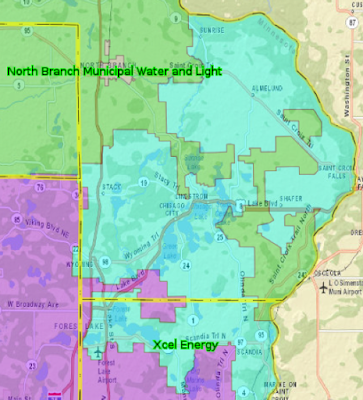 Southern Chisago County electric utility service areas