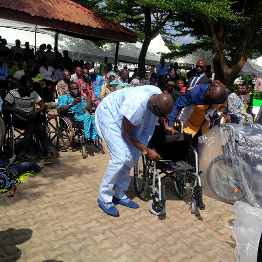 Ayo Fayose gives automatic employment to 10 disabled people and 35 wheelchairs