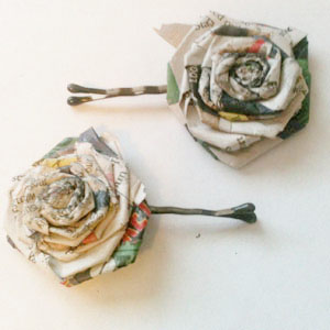 Comic chic diy newspaper flower hairpins diy newspaper flower hairpins mightylinksfo