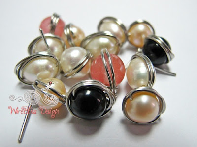 Pearl wire wrap stud earrings