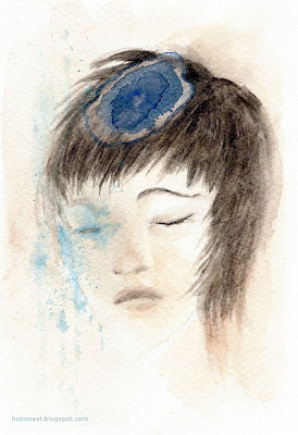 watercolor - blue wheel of thought