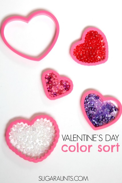 Valentine's Day busy bag color sorting activity with beads for fine motor work and color identification.