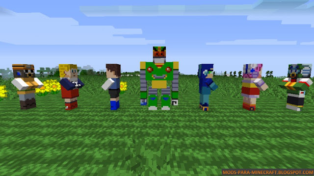 Los diferentes personajes de Mega Man en Minecraft 1.8