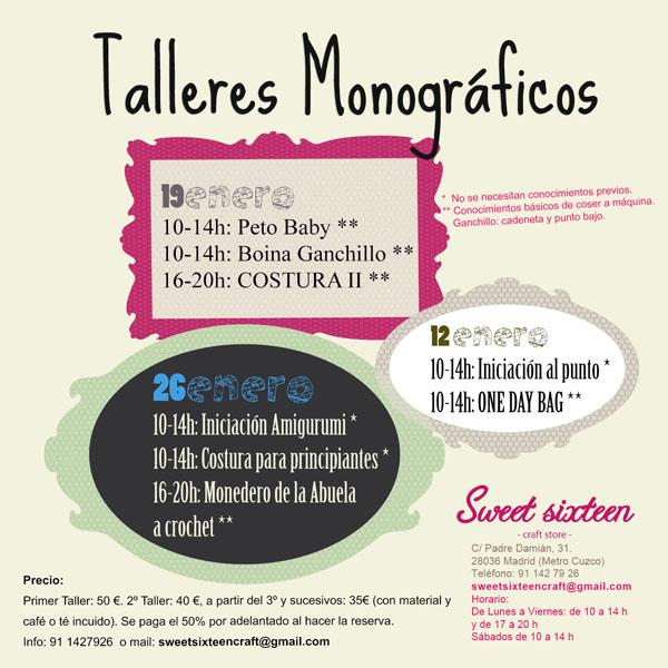 Talleres monográficos Sweet sixteen craft store Enero 2013