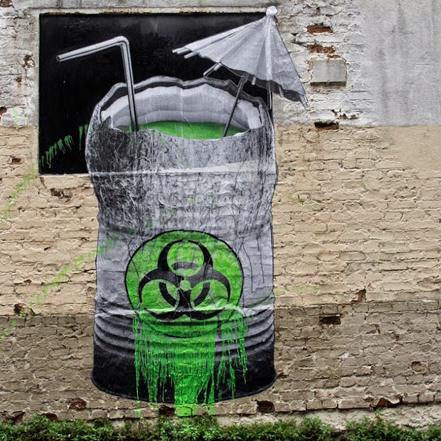 """Biohazard"" Street Art By French Artist Ludo On The Streets Of Paris, France. 2"
