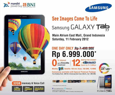 Launching Samsung Galaxy Tab 7.7 32GB Harga Murah Grand Indonesia