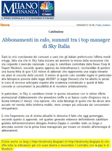 MF Milano Finanza, recensione, consigliato, Disdire Sky, disdetta, recesso