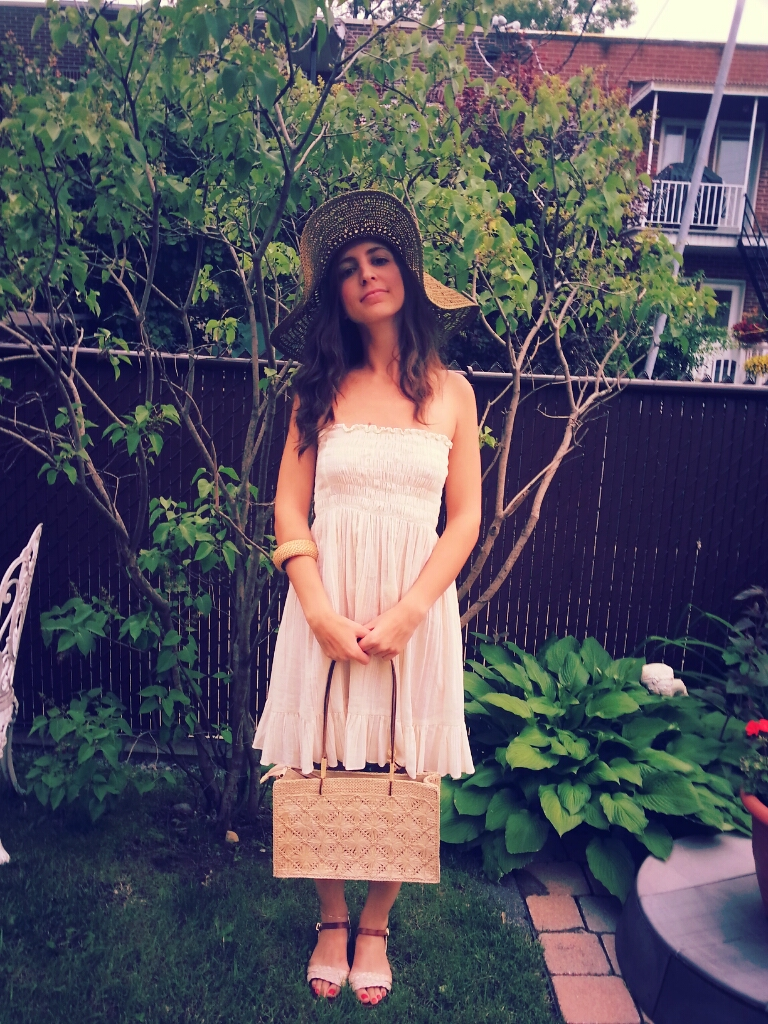 sandals white dress straw bag hat