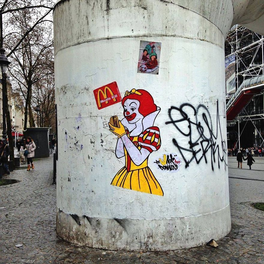 These 30+ Street Art Images Testify Uncomfortable Truths - Beware, Happy Meals Kill