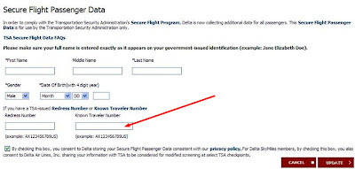So now you're ready to book your flight, and you want to participate – what do you do?  Current members of CBP's Global Entry, SENTRI or NEXUS programs just need to place their PASS ID in the 'Known Traveler Number' field when booking their reservation.