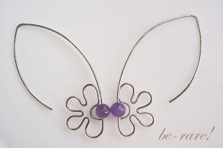 kolczyki wire wrapping kwiatek listki ametyst