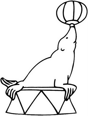 Desenho de foca para colorir