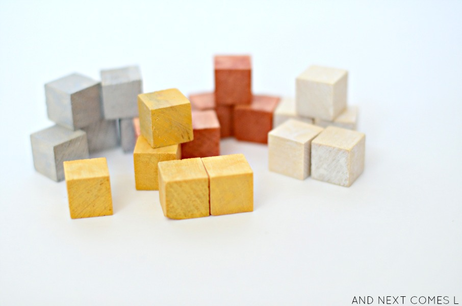 DIY metallic dyed mini blocks for kids from And Next Comes L