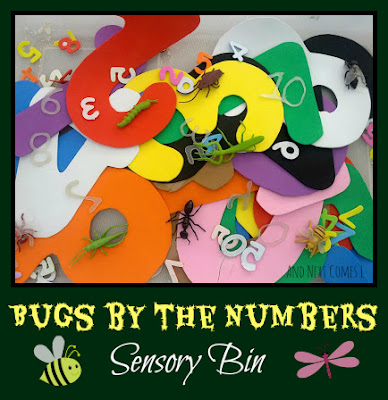 A sensory bin for kids inspired by the book Bugs by the Numbers from And Next Comes L