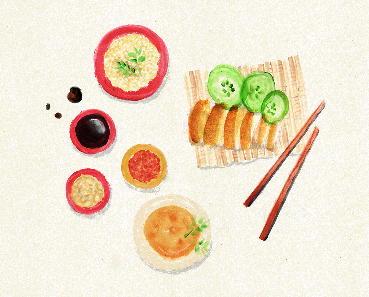 Hainanese Chicken Rice, Singapore, Lauren Monaco illustration