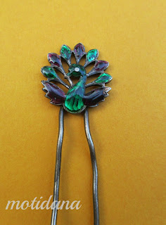 vintage hair decoration , enamel , from India