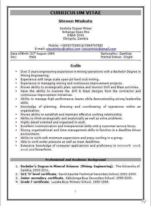 dynamic resume  resume format for mining engineer