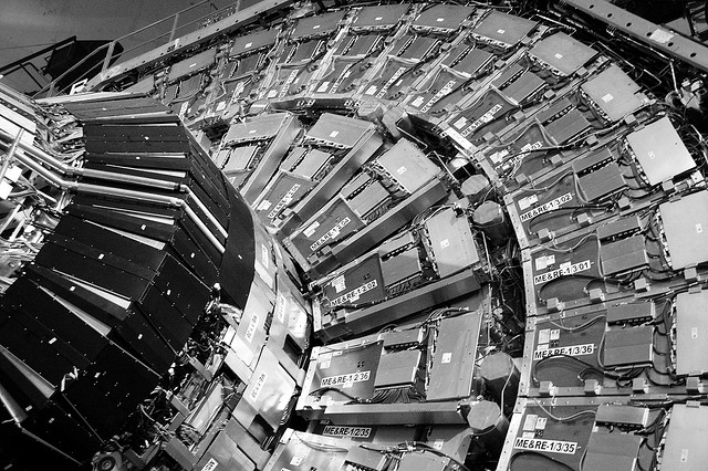 The nose of the CMS detector at LHC. Photo by flicker user marcella_bona
