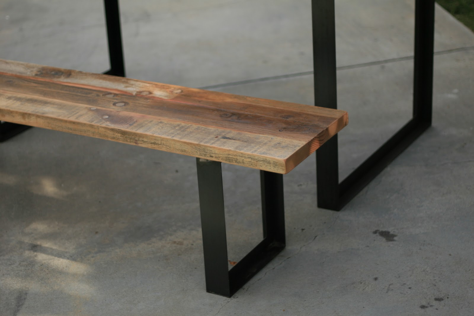 Outdoor Table + Bench With Metal Legs