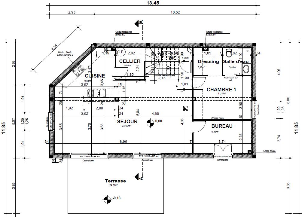 Plan Maison R 1 100M2. Simple Dco Plan Maison Salon Telecharger