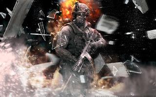 Modern Warfare 2 Explosion Shatter Glass Weapon Army Soldier HD Wallpaper Desktop PC Background
