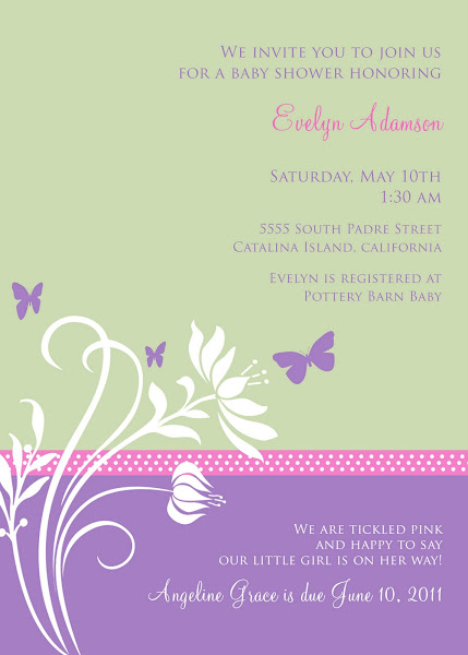 Spring Butterfly Baby Shower Invitation