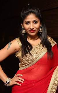 Madhulagna Das looks super cute stunning in Red Saree and Sleeveless Blouse
