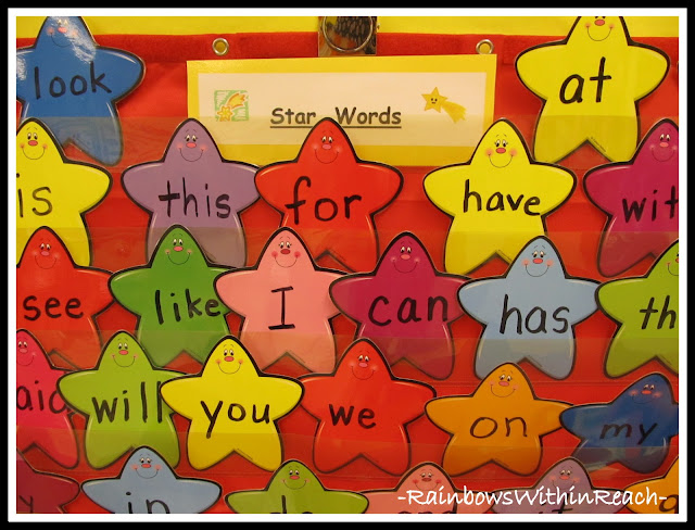 photo of: &quot;Star Words&quot; Handwritten on Laminated colorful Templates from Word Wall Round-Up