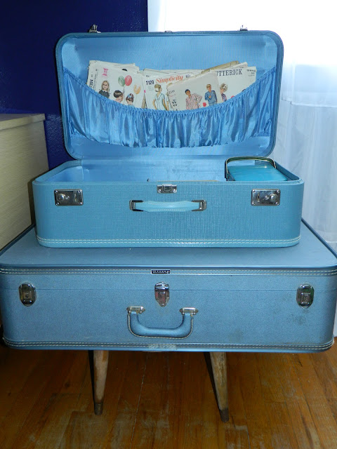 vintage suitcase table storage sewing retro Just Peachy, Darling