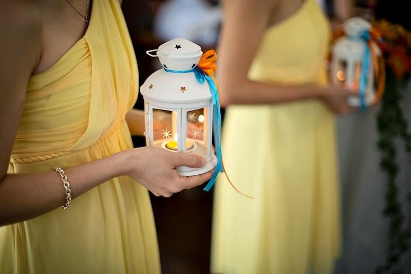lantern bridesmaid Church Wedding blue red orange