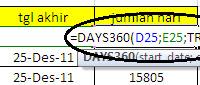 Fungsi DAYS360 di Excel