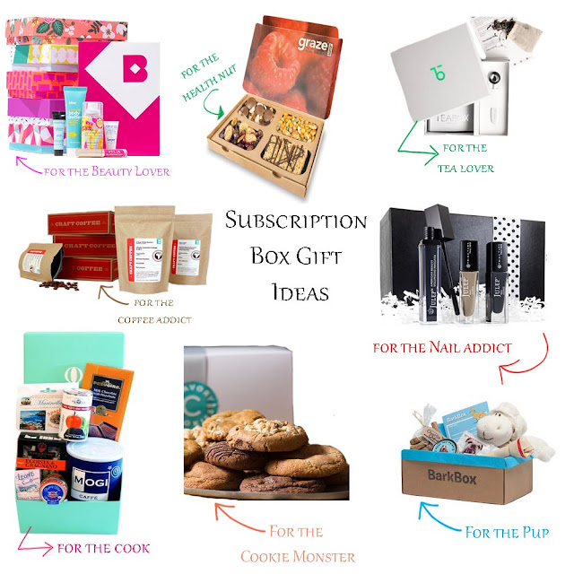 A Day In The Lalz; Subscription Box Gift Ideas, Holiday Season 2015 Gift Ideas,  BirchBox, Graze, Teabox, Craft Coffee, Julep Maven, Try The World, The Cravory, BarkBox