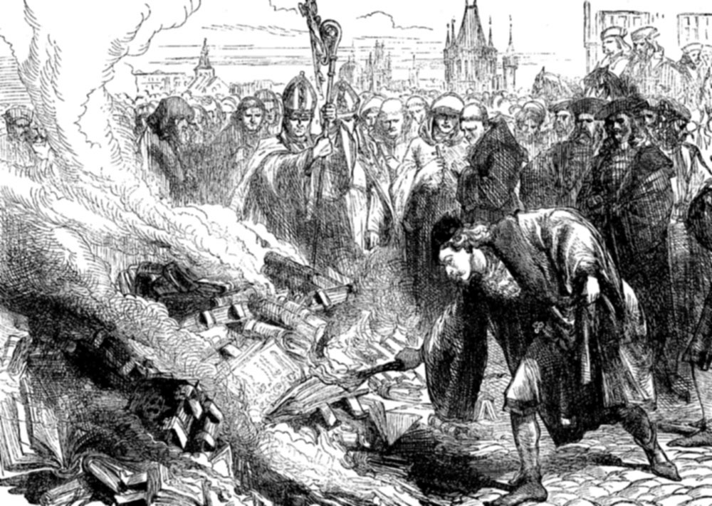 churches burning books Martin luther, a catholic monk, disagrees with the practices of the church and his books are.