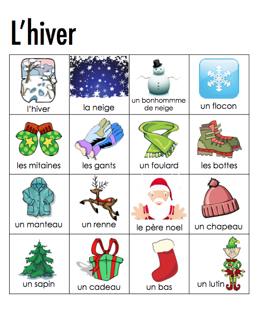 Winter word strips vocabulary for the unit