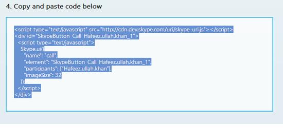 Add Skype Contact widget