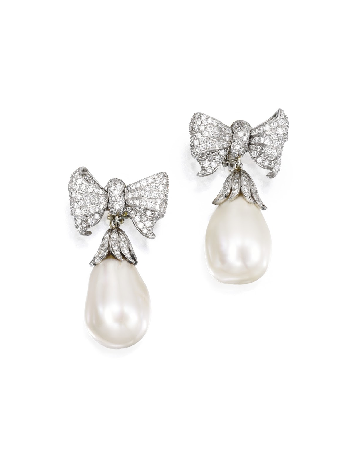 Platinum And Diamond Bow Earrings With Large Oriental Pearl Drops Made By  Verdura In 1988
