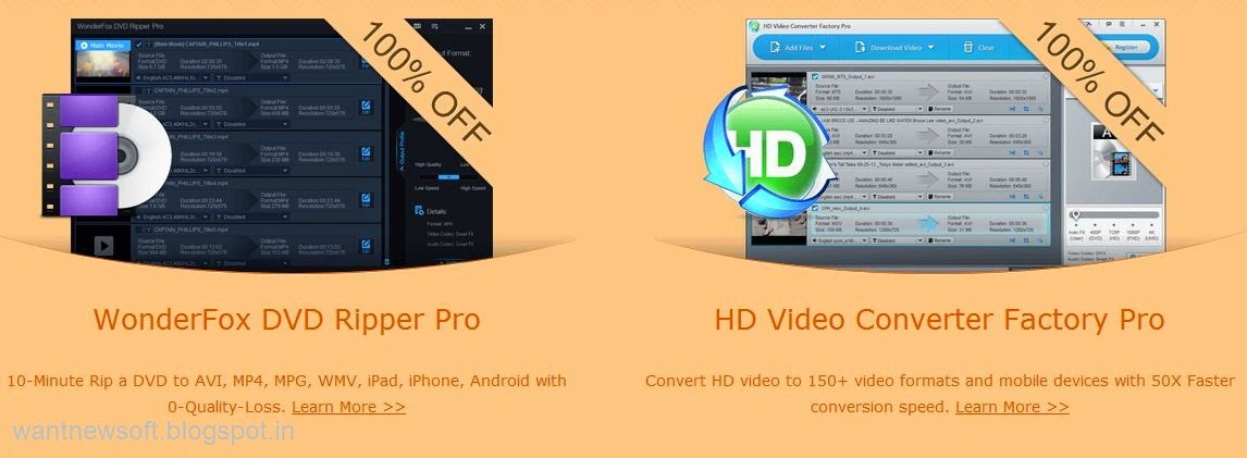 """WonderFox DVD Ripper Pro"" And ""HD Video Converter Factory Pro"" image"