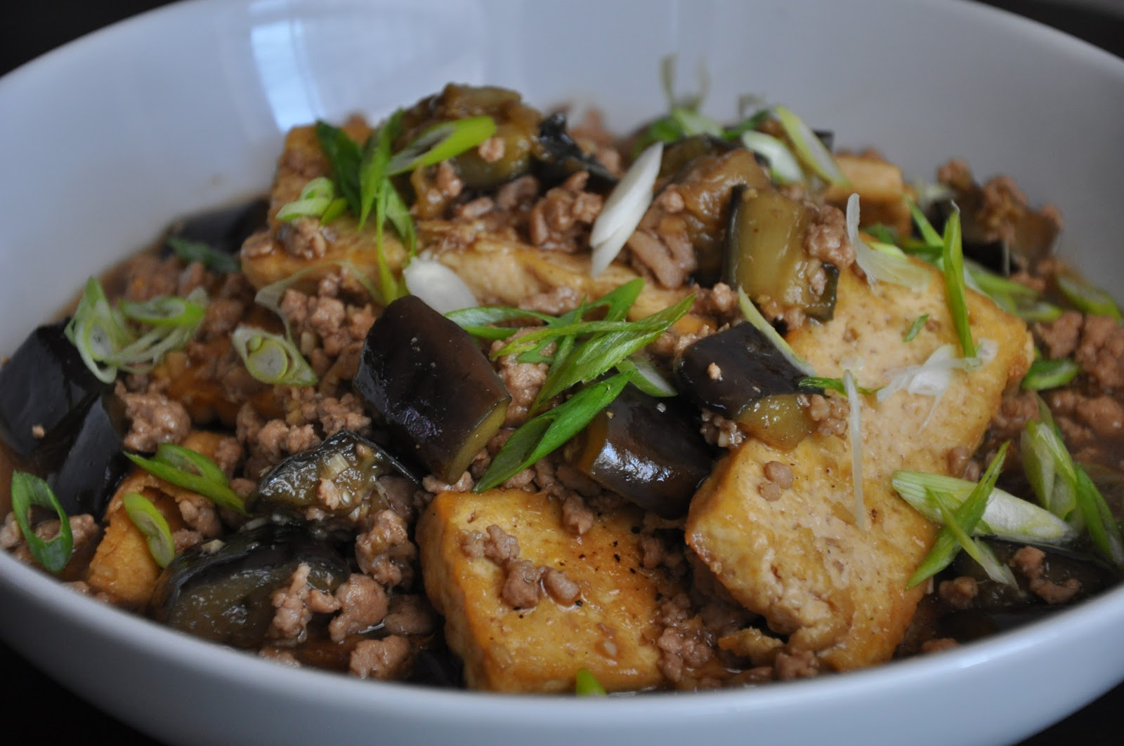 Slice of Rice: Chinese Braised Tofu and Eggplant with Ground Pork