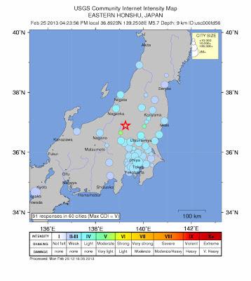 Sismo 6,2 grados Japón, 25 de Febrero 2013