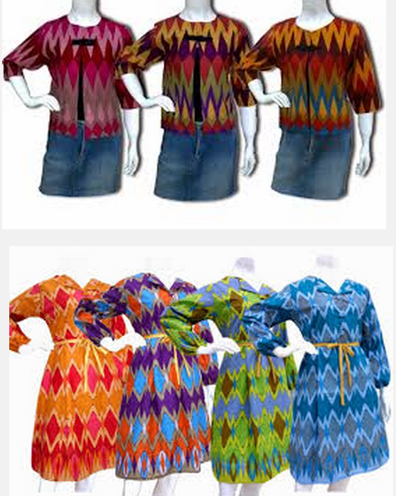 Model baju batik kerja wanita lengan panjang kombinasi kaos polos