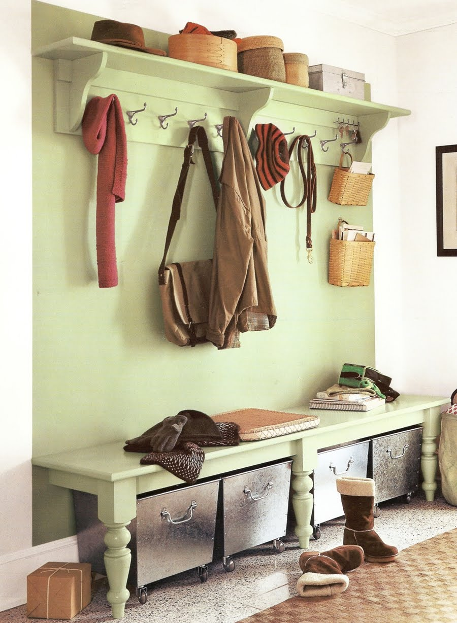 Charmant Light Green Painted Hardwood Storage Bench And Wall Mounted Coat Racks
