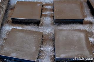 black painted wood blocks