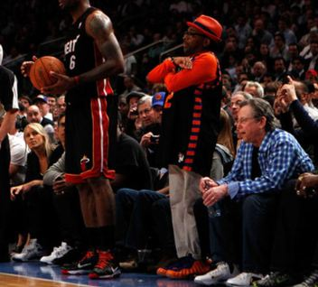 ad4f15b0eb3ee Check out the NY Knicks  1 fan Spike Lee Rockin His Nike Air Foamposite One   NY Knicks  Sneakers At Game 3 last night