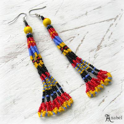 купить Яркие серьги-кисти из бисера - этно-стиль россия анабель