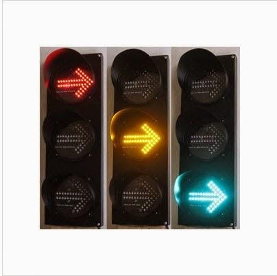 Hình ảnh đèn tín hiệu giao thông mũi tên 3 màu D200 xanh vàng đỏ