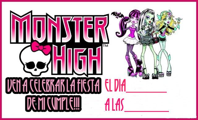 Invitación cumpleaños Monster High. | Area Infantil