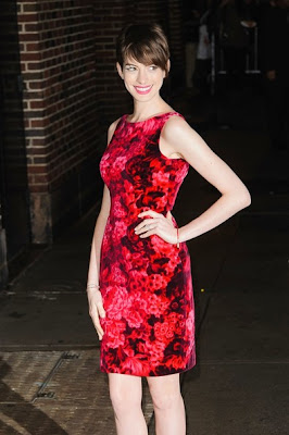 Anne Hathaway Red Floral Dress The Late Show with David Letterman