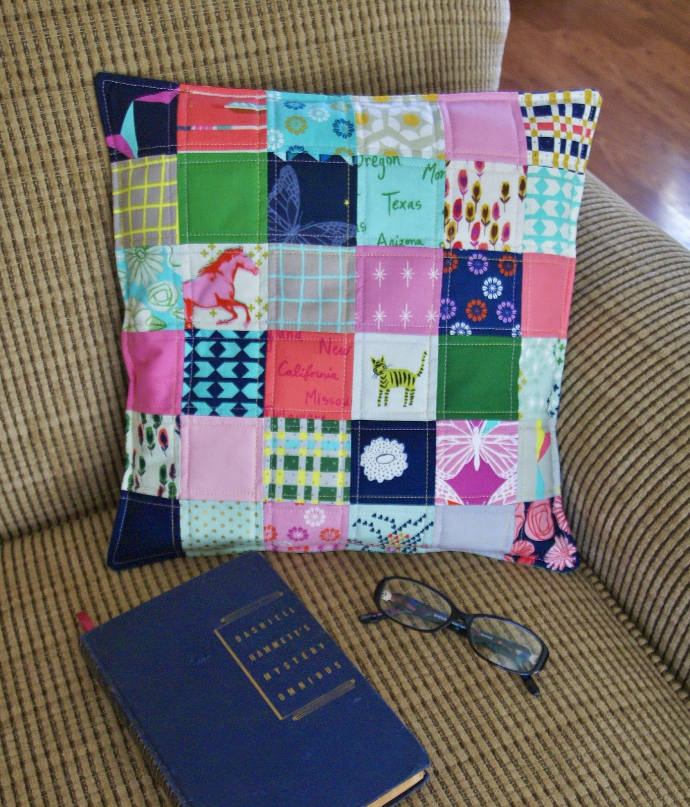 Cotton + Steel Patchwork Dorm Pillow by Heidi Staples of Fabric Mutt